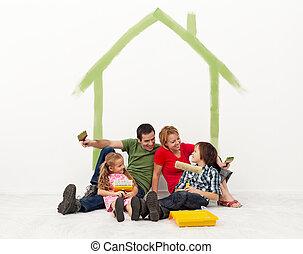 maison, concept, leur, famille, repainting