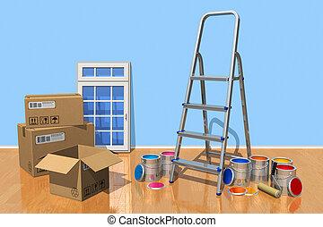maison, concept, rénovation
