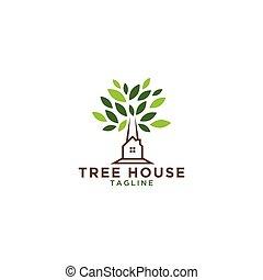 maison, conception, gabarit, arbre, logo