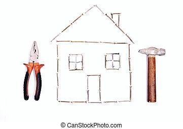 Plan projet maison g om trique conception wireframe for Conception 3d maison