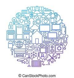 maison, conception, ligne, cercle, intelligent, icône