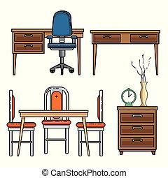 maison, conception, meubles