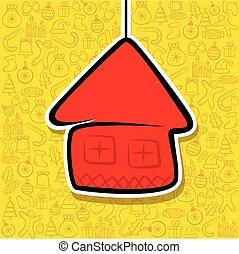 maison, conception, noël, salutation