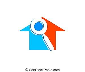 maison, conception, recherche, gabarit, logo