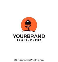 maison, conceptions, arbre, gabarit, logo