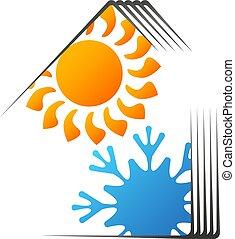 maison, conditionnement, conception, chauffage, air