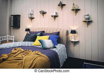 maison, confortable, chambre à coucher