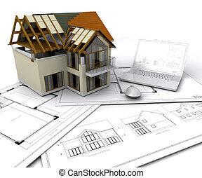 maison, construction
