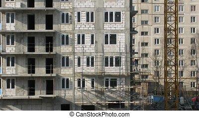 maison, construire, constructeurs, échafaudage, bâtiment