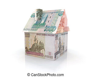 maison, construit, billet banque, rouble