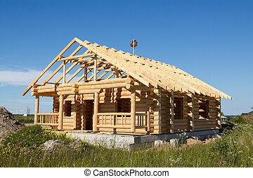 maison, construit, journaux bord
