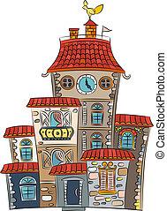 maison, conte fées, vecteur, multicolore