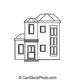 maison, contour, coûteux, urbain