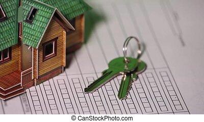 maison, contrat, clã©, bureau, modèle, signature