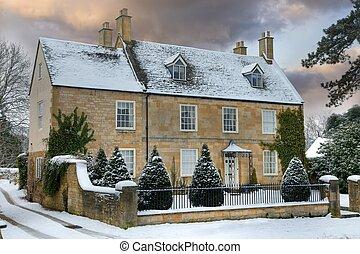 maison, cotswold, neige
