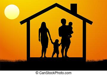 maison, coucher soleil, jeune famille, enfants