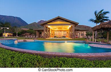 maison, coucher soleil, luxe, piscine, natation