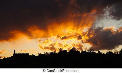 maison, coucher soleil, silouette