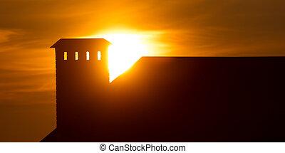 maison, coucher soleil, toit