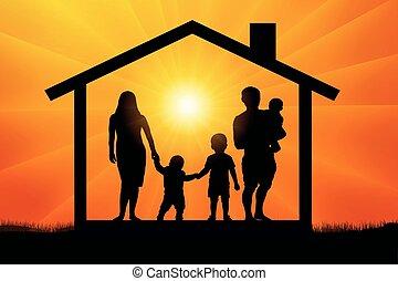 maison, coucher soleil, trois, famille, enfants
