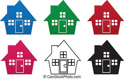 maison, couleurs, silhouette