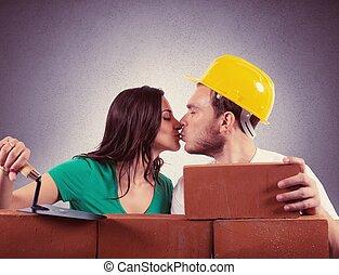 maison, couple, constructions