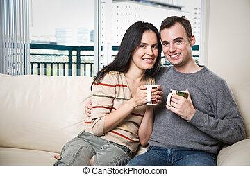 maison, couple, délassant, heureux