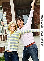 maison, couple, excité
