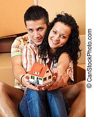 maison, couple, heureux, miniature