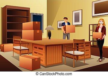maison, couple, jeune, boîtes, porter, en mouvement, pendant