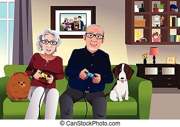 maison, couple, jeux, jouer, personnes agées