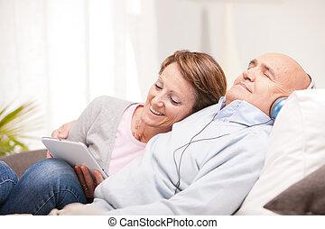 maison, couple, mûrir, temps de loisir