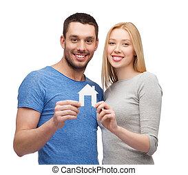 maison, couple, papier, tenue, sourire, blanc