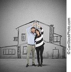maison, couple, planification