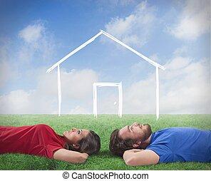 maison, couple, rêve