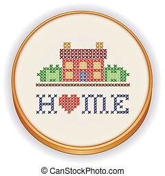 maison, croix, broderie, point