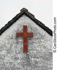 maison, croix, rouges