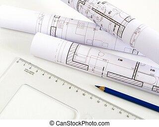 maison, croquis, plan, architectural