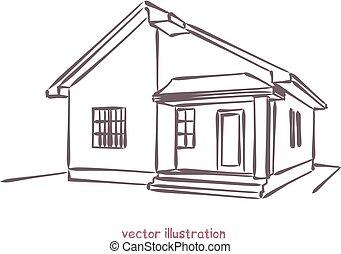 maison, croquis, vecteur, individu