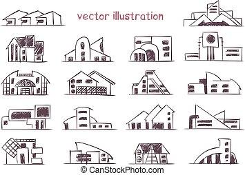 maison, croquis, vecteur, moderne