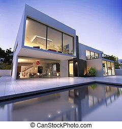 maison, cube, a, une, angle