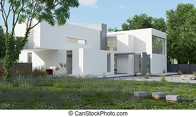 maison, cube, lumière du jour
