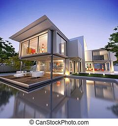 maison, cube, nid1