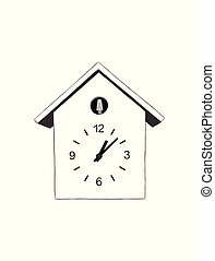 maison, cuckoo., vecteur, appareils, horloge