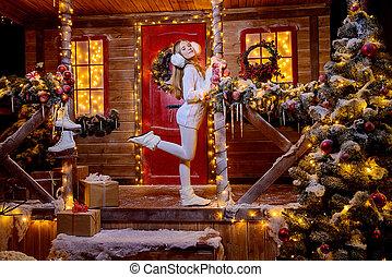 maison, décoré, festively