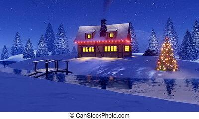 maison, décoré, rural, noël, nuit
