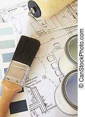 maison, décorer, arrangé, plans, composants