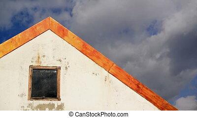 maison, défaillance, nuages, toit, temps