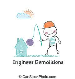 maison, démolitions, ingénieur, détruit