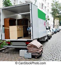 maison, déplacer van